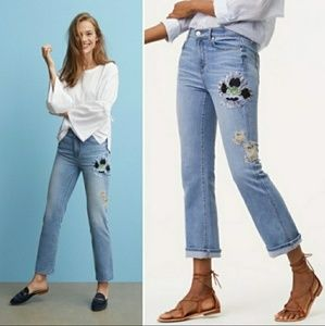 Loft floral embroidered cropped jeans 27/4